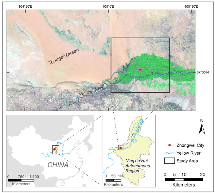 Mapping vegetation dynamics of an arid city: study area
